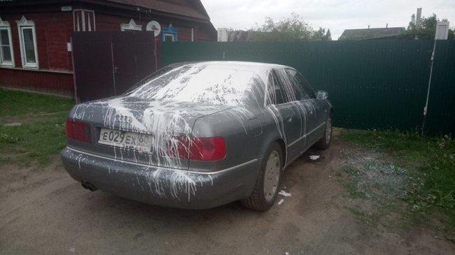 ВТверской области активиста задерживали заодиночный пикет, аего машину облили краской